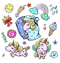 Cute baby unicorn in pastel vector