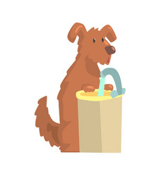Cute cartoon dog standing next to a sink with vector