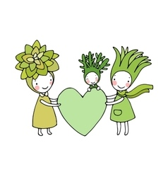 Cute cartoon succulents and aloes vector
