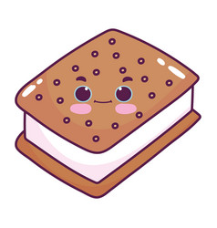 Cute food ice cream cookie sweet dessert kawaii vector