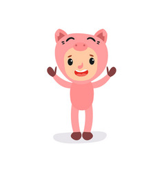 cute little kid in pink pig costume boy or girl vector image