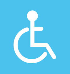 Disabled flat web icon or sign isolated on lue vector