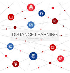 distance learning trendy web template with simple vector image