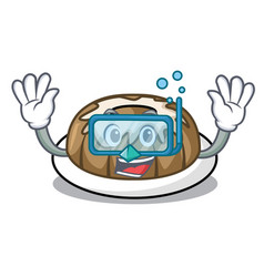 diving bundt cake character cartoon vector image