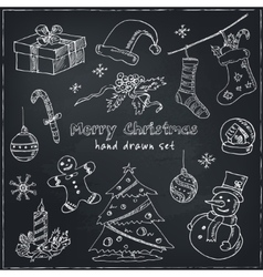 Doodle Christmas elements Vintage for vector