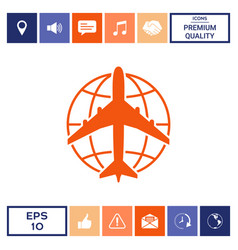 Earth and airplane logo vector