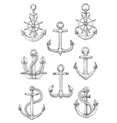 Engraving sketched anchors with helms and ropes vector
