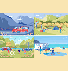 family rest and recreation outdoors and camping vector image