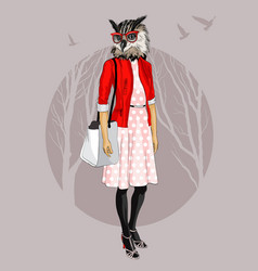 fashion hipster owl on tree background vector image