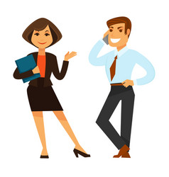 Female and male business co-workers isolated on vector