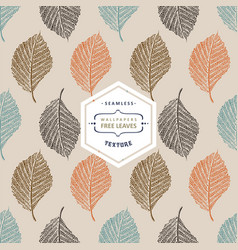 Floral seamless pattern with autumn tree leaves vector