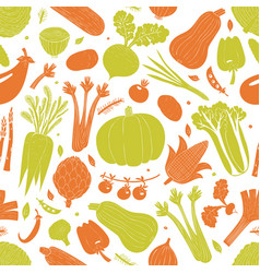fun hand drawn vegetables seamless pattern food vector image