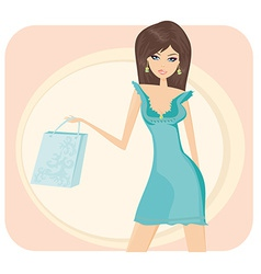 Glamour girl with shopping bag vector