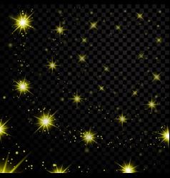 Gold light stars on black background vector