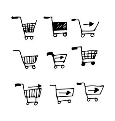 hand drawn doodle shopping cart design vector image
