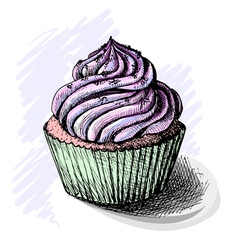 Hand drawn of tasty cupcake sketch vector image