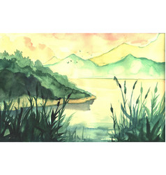 hand drawn watercolor landscape with river forest vector image