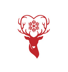 head of deer with antlers love vector image