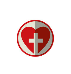 Heart with christian cross icon vector