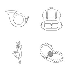 Horn game in hand backpack with things steel vector