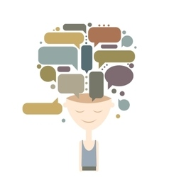 Human head and thoughts concept design vector