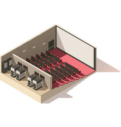 isometric low poly movie theater cutaway vector image