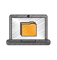 laptop computer folder file document information vector image