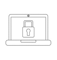 laptop computer with safety lock icon image vector image
