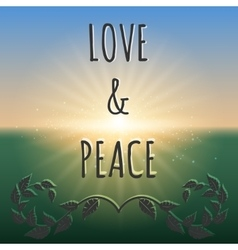 love and peace boho style background vector image