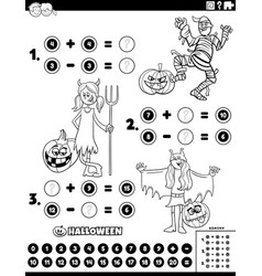 math addition and subtraction task with kids vector image