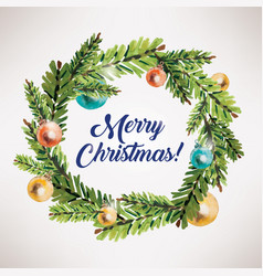 merry christmas card xmas wreath circle frame vector image