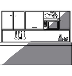 Monochrome silhouette of kitchen with top cabinets vector
