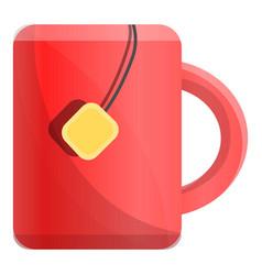 mug of hot tea icon cartoon style vector image