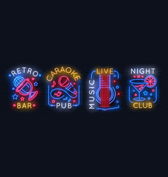 neon music sign karaoke light logo sound studio vector image