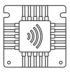 Nfc chip icon outline style vector
