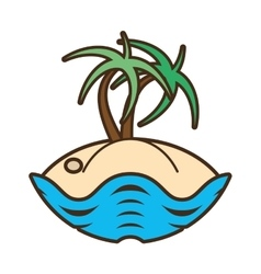 Palm tree sand beach island vector