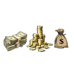 paper money stack coins sack dollars vector image
