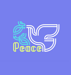 peace day greeting card with retro lettering and vector image