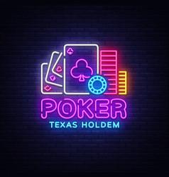Poker neon sign design template casino vector