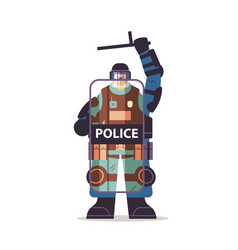 policeman in full tactical gear holding shield vector image