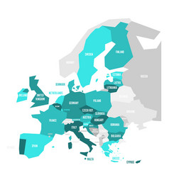 political map of europe with turquoise blue vector image
