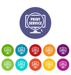 print service icons set color vector image