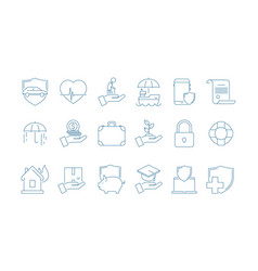 protection icons house cars life business vector image
