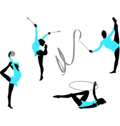Rhythmic gymnastics silhouettes vector