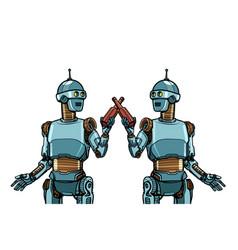 Robots drink beer cheers toast to meeting vector