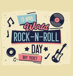 Rock festival poster world rock-n-roll day banner vector