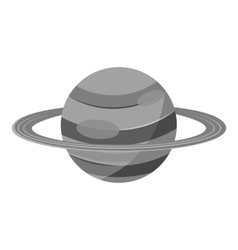 Saturn planet icon gray monochrome style vector