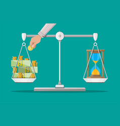Scale weighing money and time vector