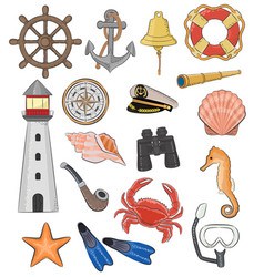 Sea marine or nautical symbols lighthouse vector