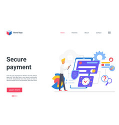 Secure payment with credit card landing page vector